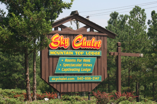 Sky Chalet Mountain Lodge sign at our entrance off of Route 263 in Basye, VA